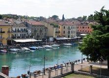 The River Mincio and Valeggio sul Mincio. Valeggio sul Mincio is a comune municipality in the Province of Verona, in the Italian region of 15,255 inhabitants Royalty Free Stock Photos