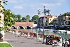 The River Mincio at Valeggio sul Mincio, Verona. Italy. Valeggio sul Mincio is a comune municipality in the Province of Verona, in the Italian region of 15,255 Royalty Free Stock Photography