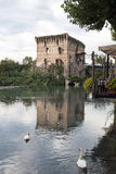 River Mincio and the Village of Borghetto Royalty Free Stock Photo
