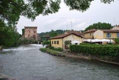 Borghetto sul Mincio. River Mincio and the village of Borghetto sul Mincio - Valeggio sul Mincio, Verona, Veneto, Italy Royalty Free Stock Photos