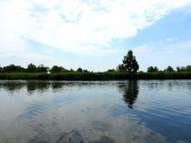 River Minija and beautiful cloudy sky. Lithuania Stock Images