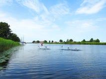 River minija, ducks birds and cloudy sky, Lithuania Stock Photos
