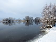 River Minija and nice trees in winter , Lithuania Stock Images