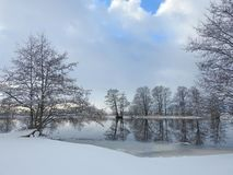 River Minija in winter, Lithuania royalty free stock photography