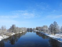 River Minija in winter, Lithuania royalty free stock image