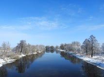 River Minija in winter, Lithuania Royalty Free Stock Image