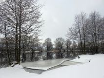 River Minija in winter, Lithuania Royalty Free Stock Images