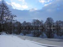 River Minija in winter, Lithuania Stock Photo