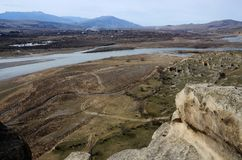 River Mktvari,view from ancient Uplistsikhe cave town,Georgia Royalty Free Stock Photos