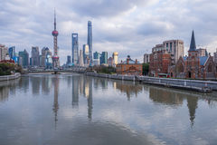 River And Modern Buildings Against Sky in Shanghai Royalty Free Stock Photography
