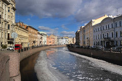 St. Petersburg, River Moika. River cleaning in St. Petersburg in early spring Stock Photography