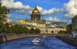 Free River Moika In Peterburg.Summer Day.View Of St. Isaac`s Cathedral. Royalty Free Stock Photos - 138643198