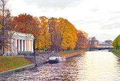 River Moika and Mikhailovsky Garden. River Moika and Mikhailovsky Garden at autumn in St.Petersburg, Russia Royalty Free Stock Photo