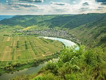 River Moselle loop at village Bremm, Germany.  Stock Images
