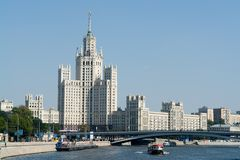 River Moskva. Sight at the river Moskva and a high-altitude building royalty free stock photography