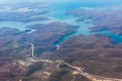 River and mountain  aerial view in  Australia Royalty Free Stock Photography