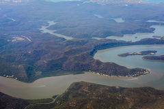 River and mountain aerial view in Australia royalty free stock photo