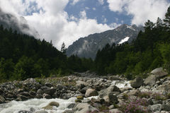 River in mountain, Alania (North Osetia), Kavkaz Royalty Free Stock Image