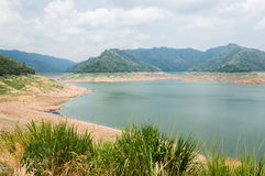 River and mountain backside of Khundanprakanchon dam, Nakhon Nay Stock Photos