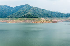 River and mountain backside of Khundanprakanchon dam, Nakhon Nay Stock Images