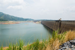 River and mountain backside of Khundanprakanchon dam, Nakhon Nay Royalty Free Stock Photo