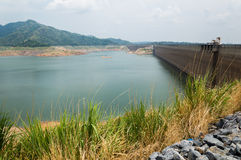 River and mountain backside of Khundanprakanchon dam, Nakhon Nay Royalty Free Stock Photos