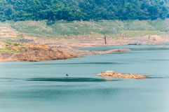 River and mountain backside of Khundanprakanchon dam, Nakhon Nay Royalty Free Stock Photography
