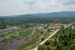 River and mountain backside of Khundanprakanchon dam, Nakhon Nay Stock Photography
