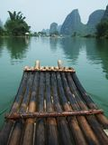 River, Mountain and Bamboo raft Stock Image