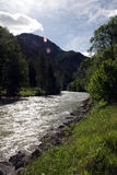 River and Mountain. River curling throug austrian mountains Stock Photo