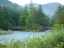 River and mountain in Kamikochi. Beautiful landscapes in Kamikochi Nothen Japan Alps, very popular resort,  private cars are restricted, explore the surrounding Stock Images
