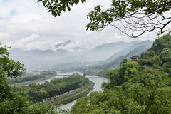 Overlooking water conservancy of dujiangyan. Fish mouth in mingjiang river , ancient water conservancy of dujiangyan built by libing two thousand years ago , two Stock Images