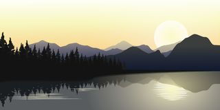 River and Mountains Row with Sunrise In Horizon, Vector Illustration. River and Mountain Landscape with Sunrise, Pine Forest and Water Reflection at Dawn royalty free illustration
