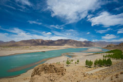River and mountain landscape of Tibet Stock Images