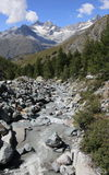 River and mountain, Matterhorn Royalty Free Stock Images