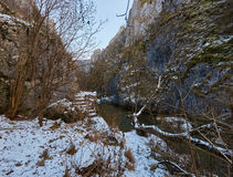 River in mountain pass. Winter landscape with a river in a mountain pass Royalty Free Stock Photography
