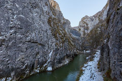 River in mountain pass. Winter landscape with a river in a mountain pass Stock Photography