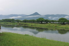 River and mountain scene in Japan Stock Photo
