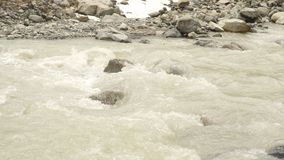 River and mountain snow. Peak Shkhara Zemo Svaneti, Georgia. The main Caucasian ridge stock video footage