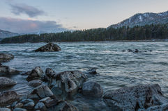River mountain stones twilight sunset Royalty Free Stock Photography