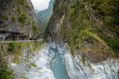 River and mountain in Taroko National Park Royalty Free Stock Photo