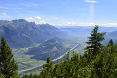 River in a mountain valley. View over the rhine valley from the Gonzen mountain, Switzerland royalty free stock photography