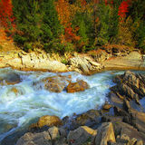 River in mountaines at autumn Stock Photos