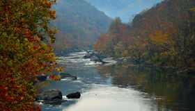 The river in the mountains. River flow between the autumn mountains Stock Photos