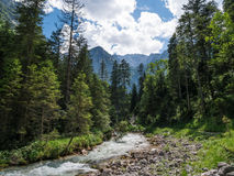 The  river in mountains of Alps in Tyrol, Bavaria Royalty Free Stock Photo
