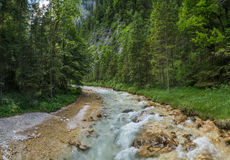 The  river in mountains of Alps in Tyrol, Bavaria Stock Photos
