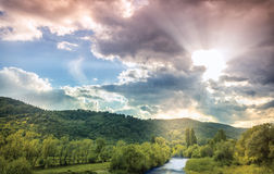 River and Mountains. River mountains and beautiful sky background royalty free stock images