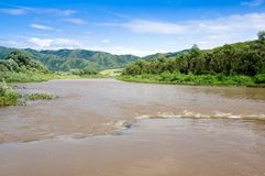 The river, mountains and the blue sky. Royalty Free Stock Photos