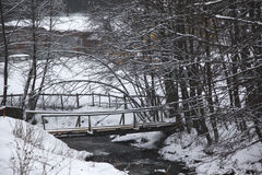River in mountains. Bridge crossing over the river in winter time Royalty Free Stock Photos