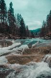 River in the mountains of bukovel stock images